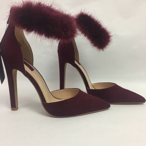 Burgundy suede heels with fur ankle cuffs size 6.5